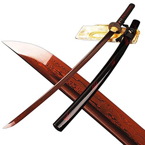 Folded Steel Sharp Red Blade Full Tang Samurai (Full Tang Samurai Sword)