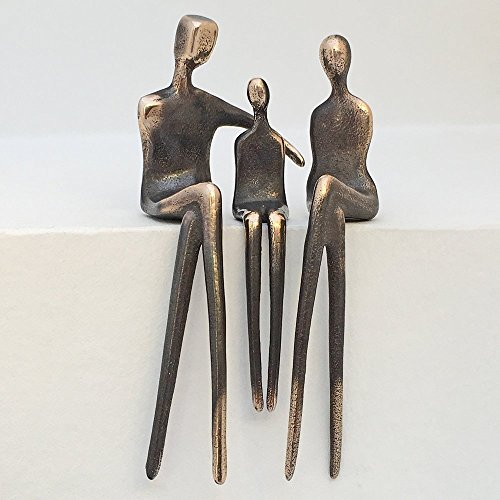 """Cuddle Up Girl"" Family of 3 - Yenny Cocq Design Loving People Bronze Collectible Figurines"