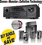 Denon AVR-S710W 7.2 Channel Full 4K Ultra HD A/V Receiver with Bluetooth and Wi-Fi + Definitive Technology Pro Cinema 800 System Black + Monster - Platinum XP Clear Jacket MKIII 50' Compact Speaker Cable - Clear/Copper Bundle
