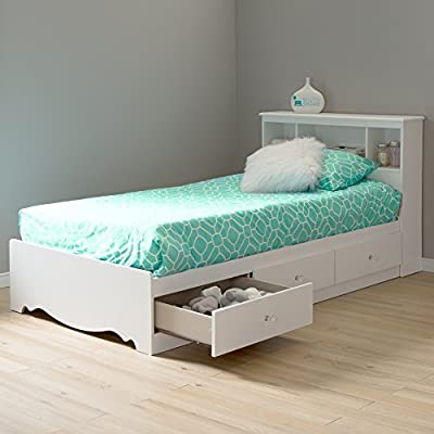 South Shore Crystal Twin Storage Bed and Bookcase Headboard, Pure White