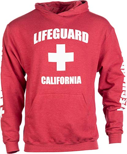 (California Lifeguard | Red Cali Fleece Hoody Sweatshirt Hoodie Sweater Men Women - (Hood,S))
