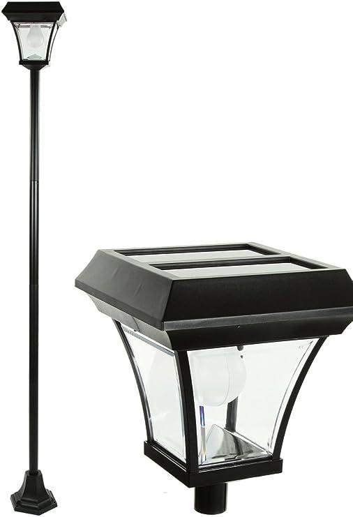Solshine Farola solar para el jardín de PVC y metal - Altura: 196 cm - Tecnología LED - Contiene un sensor solar: Amazon.es: Hogar