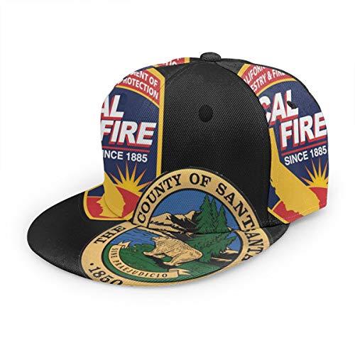 Santa Cruz County Fire and Cal FIRE Duel Unisex 3D Printing Classic Baseball Cap Snapback Flat Bill Hip Hop Hats Black