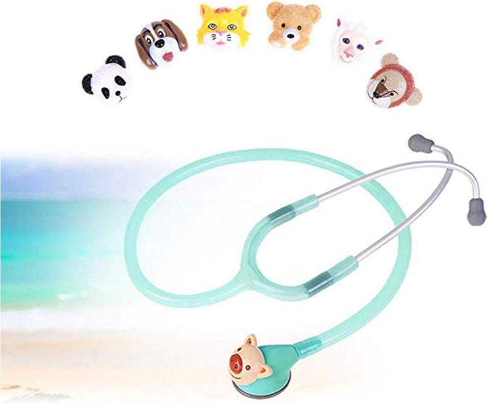 WSN Estetoscopio de Doble Cabeza Estetoscopio pediátrico, médico único Ultraligero para monitorización cardíaca de Primeros Auxilios con 6 Cabezas de Animales,Verde
