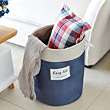 Lqchl Dirty Clothes Basket, Cloth Art Folding Laundry Basket, Sundries Toy Storage Basket,Navy Blue