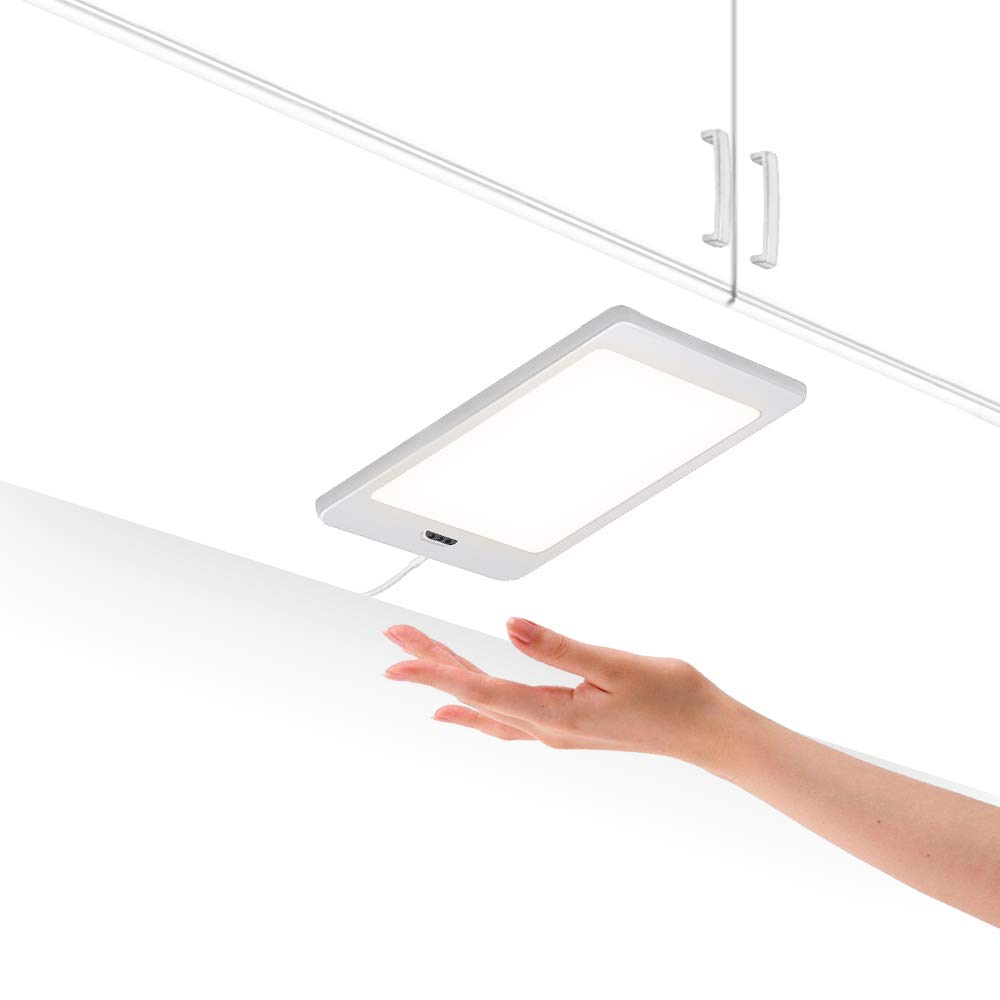 Touchless Hand Sensor 5W LED Under Cabinet Cupboard Lamp Panel Light with DC12V Hardwired Connection and Power Adapter Neutral White Lighting 4000K by Enuotek