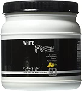Controlled Labs White Pipes Stimulant Free Pump and Endurance Enhancer, Tropical Pineapple, 12.2 Ounce