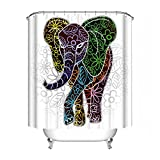 Elephant Mandala Shower Curtain, Indian Ethnic Flower Paisley Print Holy Animal Head Hippie, Fabric Bathroom Decoration With Hook, 72 Inches Extra Long, White Red