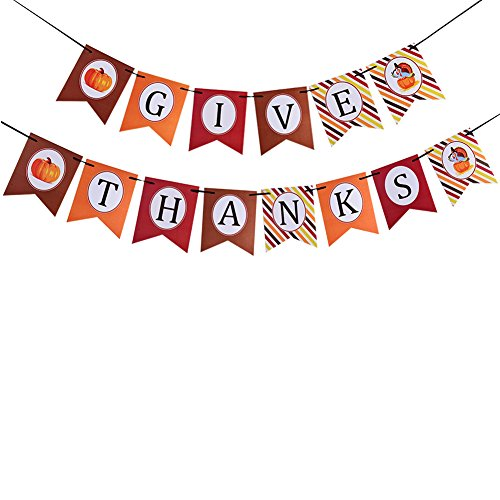 Best Review Of Give Thanks Banner For Thanksgiving Party Decorations Supplies Bunting