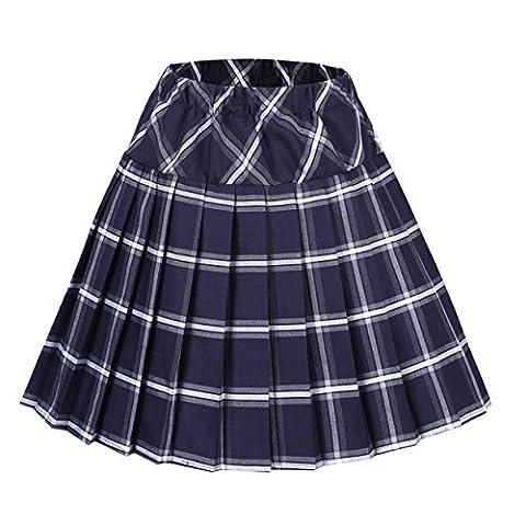 Urban CoCo Women's Elastic Waist Tartan Pleated School Skirt (Medium, series 8 navy blue) - Pleated Plaid Mini
