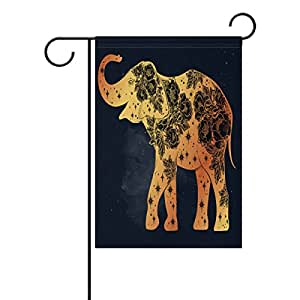 Sunlome Elephant with Wild Rose Flowers Star Pattern Garden Flag Double Sized Print Decorative Holiday Home Flag , 12 x 18 inches