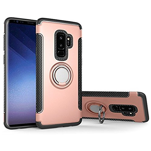 Galaxy S9 Plus Case, Shock Absorption And Carbon Fiber Design, Built-in Metal Plate Compatible With Magnetic Car Mount, Groza 360 Degree Rotating Ring Grip Kickstand Armor Case (Pink) by Groza