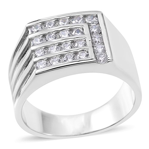 925 Sterling Silver 0.7 Cttw Round Cubic Zirconia Men's Fathers Day Gift Ring Size 10 by Shop LC (Image #6)