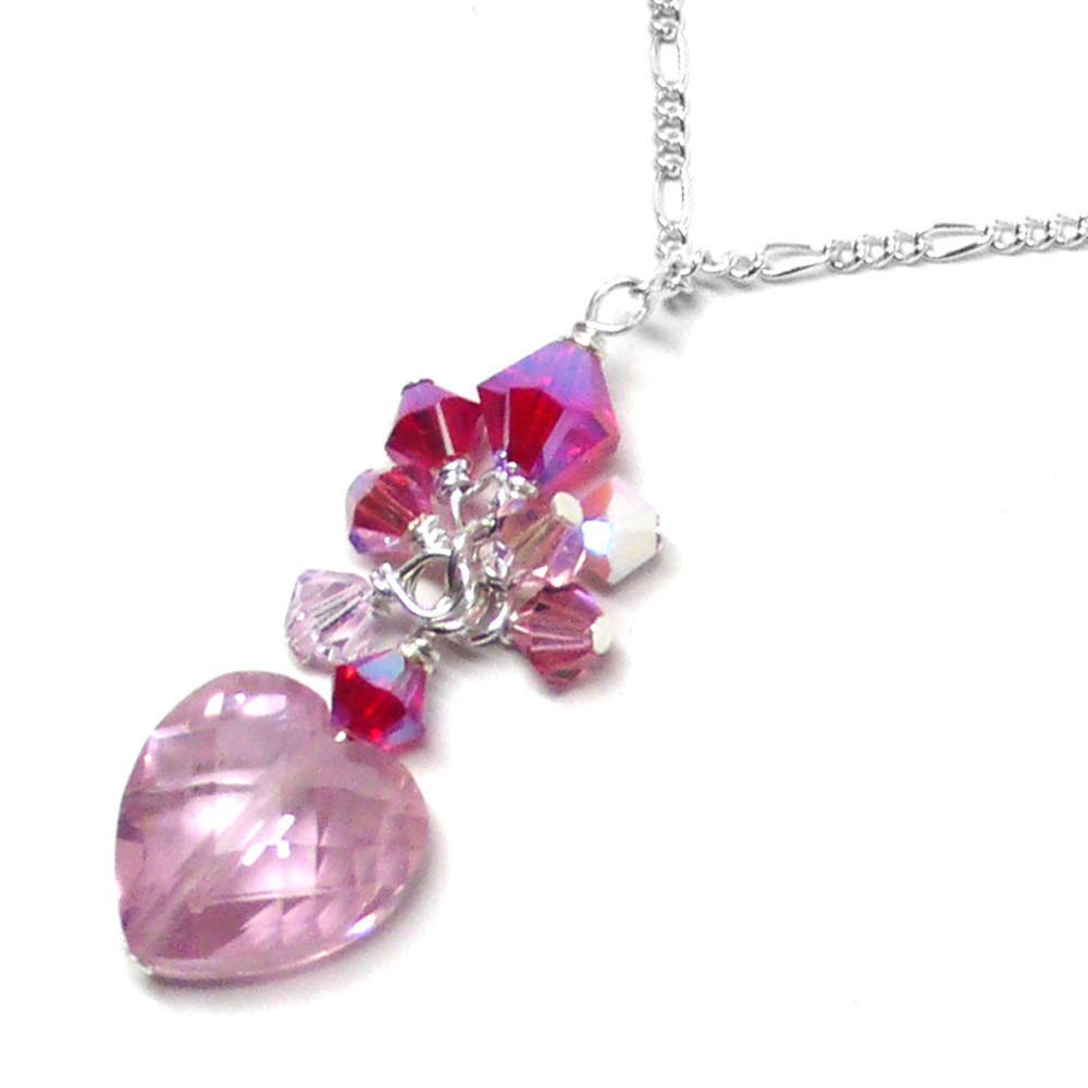 Pink Glass and Metal Necklace Silver Necklace ONLY 1 AVAILABLE Cluster Drops