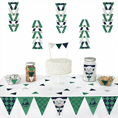 Big Dot of Happiness Par-Tee Time - Golf - Triangle Birthday or Retirement Party Decoration Kit - 72 Pieces