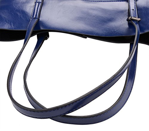 Handbags Cowhide Tote Bag Fanspack and Shoulder Handbags Womens Blue Large Capacity Purses Dark qvU5UXwO