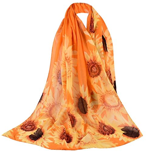 Clearance Sale! TiTCool Women Sunflower Printed Scarf Soft Voile Shawl Wrap Elegant Scarves (Orange, 35.43x70.86in)