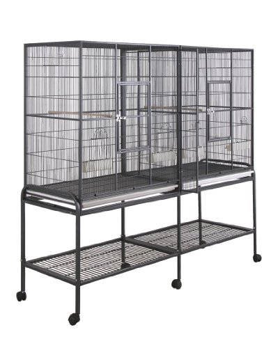 Birdscomfort Hq Double Flight Bird Cage 64x21 - Black
