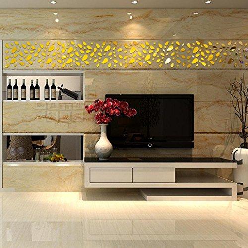 3D DIY Acrylic Mirror Wall Sticker Clock Home Decoration Gold - 1
