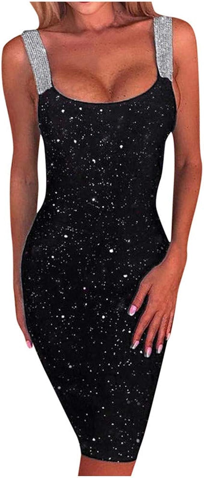 Sexy Trägerkleid Damen Pailletten Partykleid Abendkleid Ballkleid