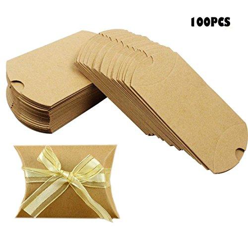 Nextnol 100PCS Kraft Paper Candy Box for Wedding Party Favor + 100 PCS Chiffon Rope