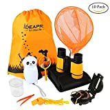 10 Pcs Outdoor Exploration Kit, Children's Toy Binoculars, Flashlight, Compass, Whistle, Fishing nets, Magnifying Glass, Drawstring Backpack, Small Tweezers, Storage bag, Storage Box, Great Kids Gift Set for Camping, Hiking, Educational and Pretend Play