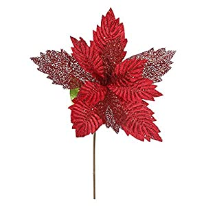 """Vickerman Poinsettia with 15"""" Flower Head & Paper Wrapped Wire Stem in 6/Bag 47"""