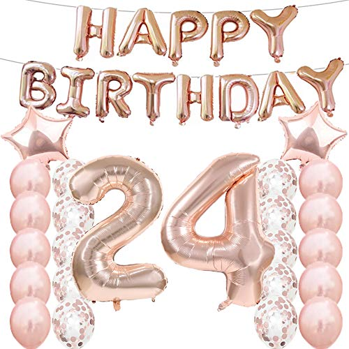 24th Birthday Decorations Party Supplies,24th Birthday Balloons Rose Gold,Number 24 Mylar Balloon,Latex Balloon Decoration,Great Sweet 24th Birthday Gifts for Girls,Photo Props (24 Mylar Balloon)