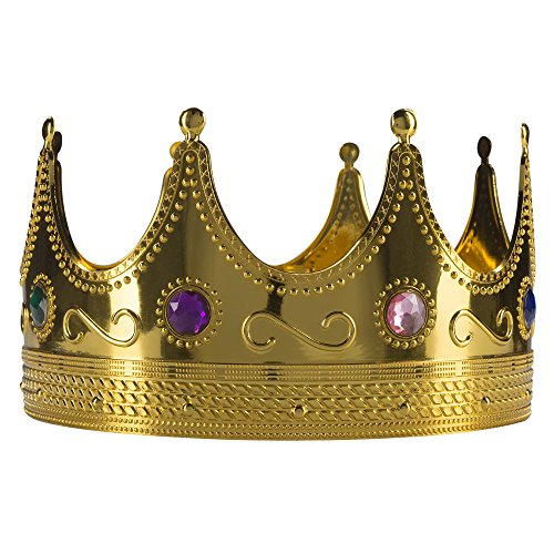 Fun Central AY970 Regal King Crown, Party Crowns, Crowns for Kings, King of Crowns, King Crown Costume, King Crown for Kids, Jeweled Gold Plastic Novelty, Costume Accessory-for Party Favors