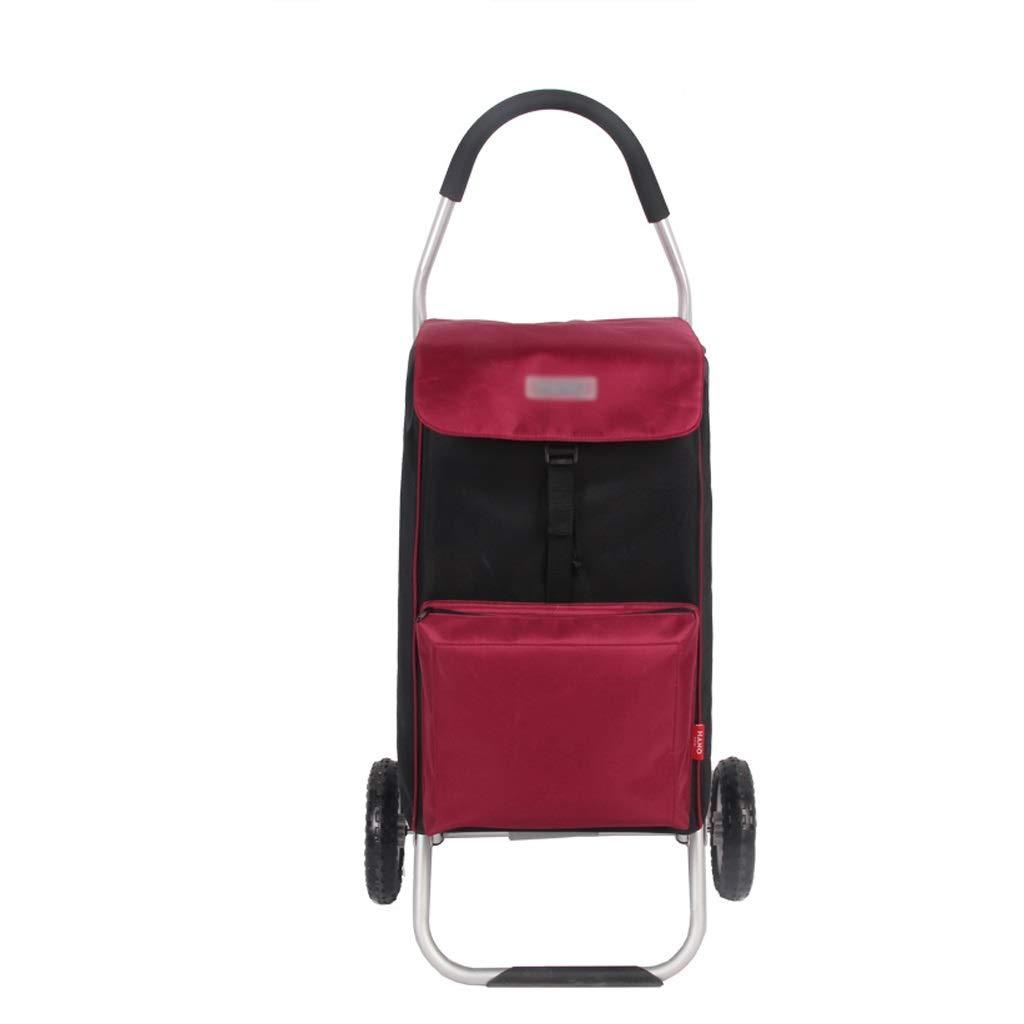 Aluminum Alloy Shopping Cart Portable Folding Shopping Cart Home Grocery Shopping Cart (Color : Red)