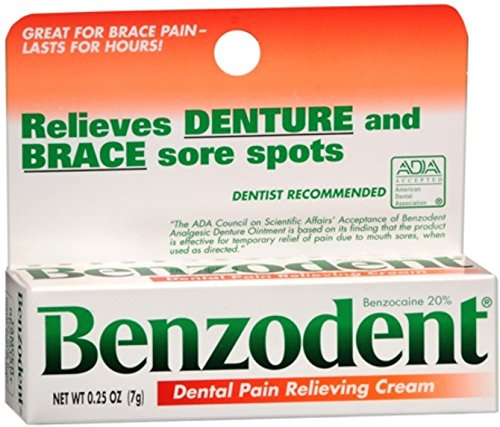 Benzodent Dental Pain Relieving Cream 0.25 oz (Pack of 5)