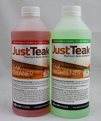 JustTeak - 2L Teak Cleaner and Brightener Kit (2.11 quarts) by Greencorp Marine
