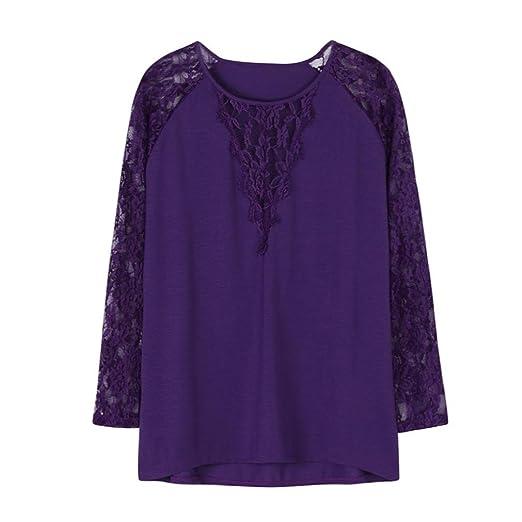 Misaky Plus Size Plus Size Blouses For Women Fashion 2018 Lace Solid