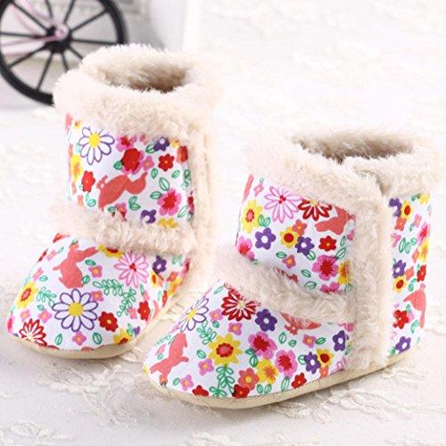 Saingace Bébé Filles Automne Hiver Floral Bottes de Neige Imprimés Berceau Chaussures Souples (12.5cm(6-12mois))