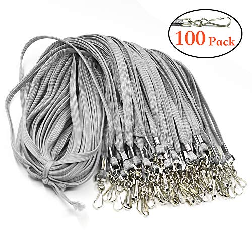Bulk Lanyard with Swivel Clips Hooks Premium Gray Cotton Flat Woven 17.5 inches 100 Pack Neck ID Badge Lanyard