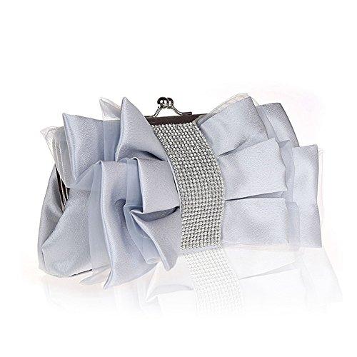 Flada niña de flores de seda noche embrague mariposa nudo rhinestones bolso de la boda de color albaricoque La Plata