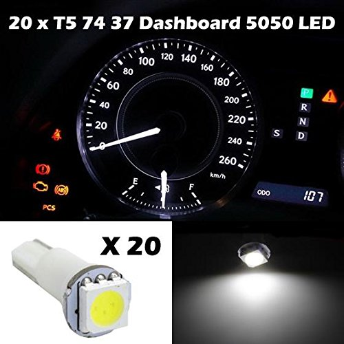 Partsam 20x White Led SMD T5 Speedo Dashboard Instrument Gauge bulbs 17 37 73 74 For 2000-2012 Toyota Camry (2012 Mitsubishi Galant Dash Kit compare prices)