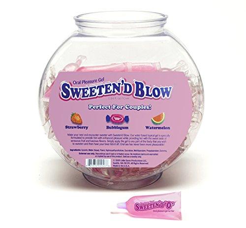 Little Genie Sweeten' D Blow Oral Pleasure Gel, 3 Flavor Fishbowl Of 72 (Strawberry, Watermelon, and Bubblegum) by Little Genie