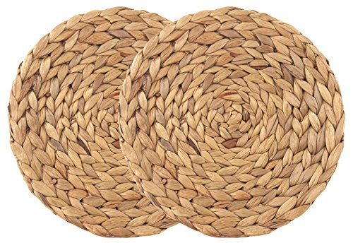 wellhouse Natural Handmade Straw Woven Placemat Wooden Round Braided Mat Heat Resistant Hot Insulation Anti-Skidding Pad Water Hyacinth Placemats (14.5Inch, Grass mat-2 Pack)