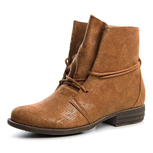 topschuhe24 630 Damen Boots Stiefeletten Schnürschuhe Camel