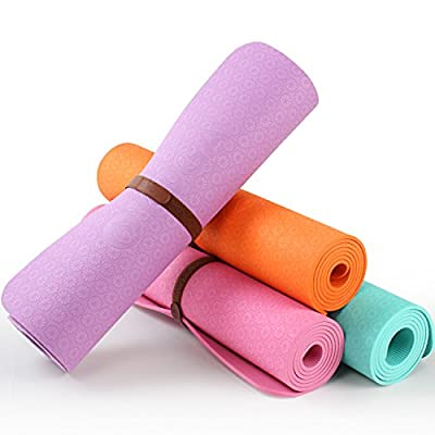 OYOGA Non Slip Yoga Mat TPE Thick 1/4-inch Grip Pilates Exercise Mats 72-Inch With Travel Bag