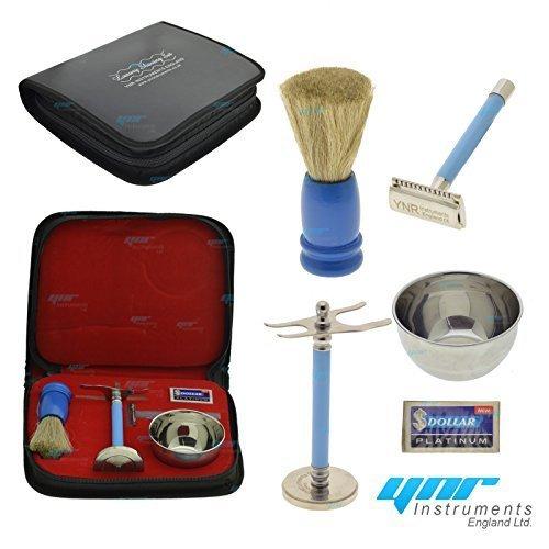 YNR® Men's Shaving Set, Double Edge Safety Razor, Shaving Brush, Shaving Stand, Stainless Steel Shave Bowl Mug in Faux Leather Case (Red) YNR® Men' s Shaving Set YNR Instruments Ltd