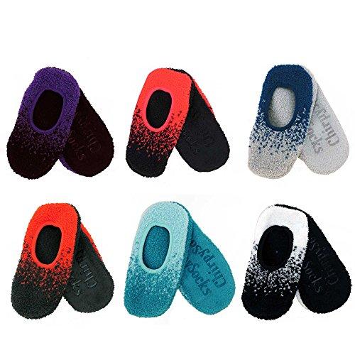BambooMN Brand - Super Soft Warm Cozy Fuzzy Gradient Comfort Slippers - Assortment 6A, Size L, 6 Prs
