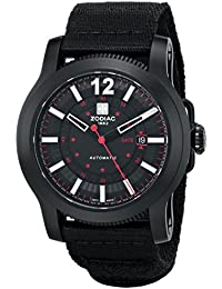 ZMX Mens ZO9100 Jet-O-Matic Stainless Steel Automatic Watch with Black Canvas Band. Zodiac