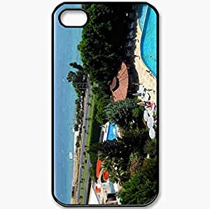 Protective Case Back Cover For iPhone 4 4S Case Turkey Alanya Sea Bar Pool Resort Black