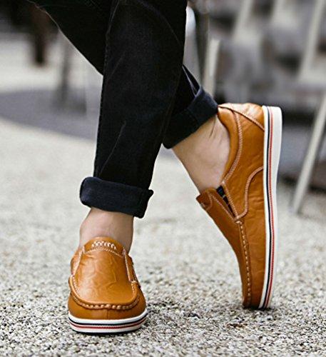 Uomo Dooxi Scarpe Casuale Marrone Scivolare Loafers Scarpe Elegante da Mocassini Piatto Barca 4xrwqd1x