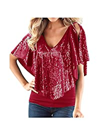 Fasumava Womens Tunic Tops Summer Casual Paillettes Cold Shoulder Tight T Shirts