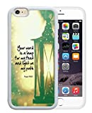 Psalm 119:105 your word is a lamp for my feet and light on my path christian bible verses quotes theme pattern print protector cover sleeve cases for iPhone 6/6S – White Rubber Case Cover