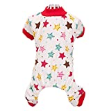 Silvercell Cute Pet Dog Cotton Pajamas Cartoon Pattern Coat T-Shirt Cat Clothes Red XS