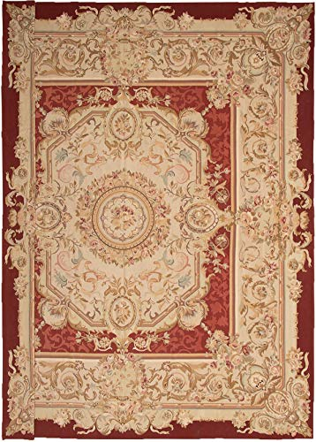 eCarpet Gallery Hand Made | Large Area Rug for Living Room, Bedroom | Home Decor Sumak | 100% Wool | French Tapestry Bordered Red Sumak 14'0